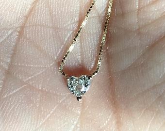 Custom Pureheart .25 .35 .40 carat diamond heart solitaire necklace 14K Yellow Gold pendant chain gorgeous