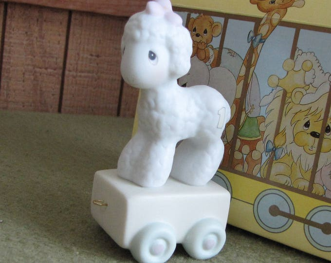 Precious Moments One-Year Old Birthday Train Series Lamb Figurine Sailboat Symbol 1995 Retired