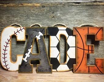 Sports Letters-Hand Painted Wall Letters-Wood Nursery Letters-Baseball Nursery-Vintage Sports Nursery-Basketball Nursery