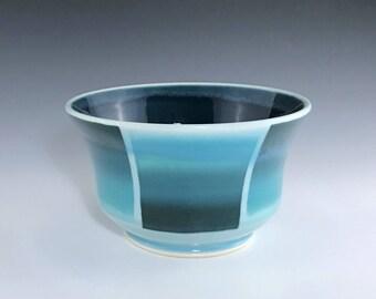 Teal Ceramic Bowl, Porcelain Cereal Bowl, Porcelain Bowl, Ceramic Soup Bowl, Teal Ombré Bowl, Wheel Thrown Pottery Bowl, Ceramic Candy Dish