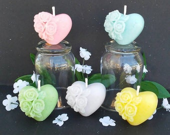 Set of Five / Scented Heart Candles