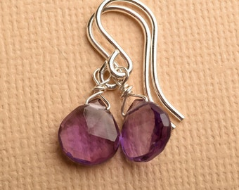 Amethyst Earrings, Purple Gemstone Earrings, February Birthstone Earrings, Gemstone Sterling Silver Earrings