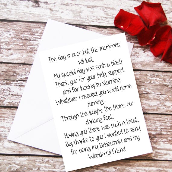 Wedding Gift Card Quotes: Items Similar To Bridesmaid Thank You Card, Bridesmaid