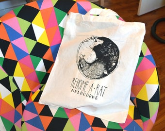 Rat Rescue tote bag / Cotton / Screen printed / Handmade / Fashion accessories / Charity / Animal rescue fundraising