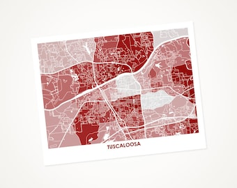 Tuscaloosa Map Print.  Choose the Colors and Size.  Perfect Graduation Gift for your University of Alabama Crimson Tide.  Bama Art.