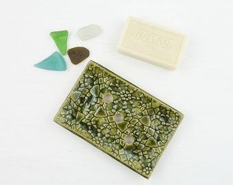 green soap dish, green ceramic soap holder, draining soap dish