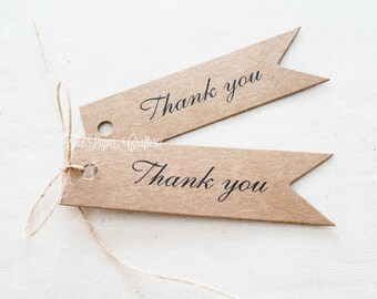 30 x Thank You Kraft Gift Tags for Wedding & Party Favours Flag Shape