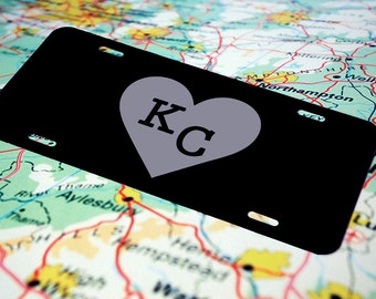Personalized License Plate, Custom License Plate, Monogram, Name, Art, KC, Kansas City, Front License Plate,