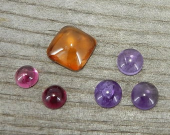 Mixed Cabochon Lot - Carnelian, Pink Tourmaline, Amethyst - De-Stash Stone Sale, Jewelry Making Supplies, Cab, Gem, Gemstone