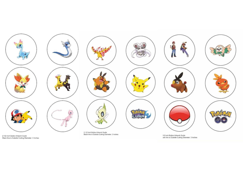 Pokemon Go Buttons,Pokemon Go Image,2.5 inch button template,18 ...