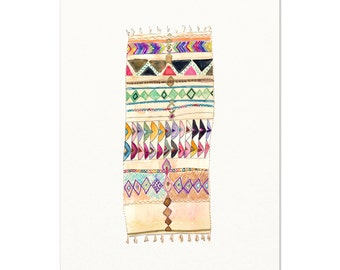 Vintage Moroccan Rug Watercolor Art Print. Modern Boho Decor. Tribal Vintage Rug Painting. Moroccan Rug Art Print.  Boho Gallery Wall Decor.