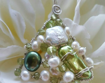Wire wrapped Sterling silver one-of-a-kind Peridot Pearl Triangle Pendant