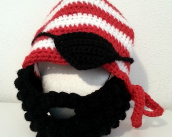 Crochet Pirate Hat for Babies to Adult; Striped Beanie Hat with Black Beard and Pirate Eye Patch; Kids Beard Hat