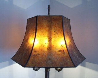 Morning Glory Mica Lamp Shade For Your Antique Vintage Table Or Floor Lamp  By NYM Arts