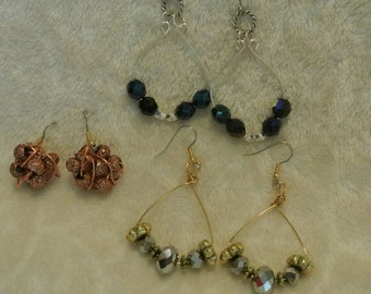 Three Pairs of Earrings