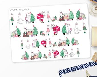 Planner Stickers Christmas, Presents, Santa  Eunice The Unicorn Sticker for Erin Condren, Happy Planner, Filofax, Scrapbooking