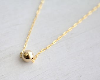 Gold filled bead necklace, gold necklace, gold filled necklace, everyday necklace, minimalist jewelry, modern jewelry, layering necklace