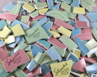 3.5 Lbs. Doubled Sided Pastel Broken China Tiles & Mosaic Supplies