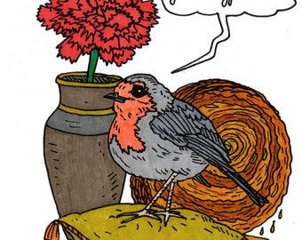 Adorable bird, flower and pastry drawing: Robin, eyelet, kouign-Amann and sad text