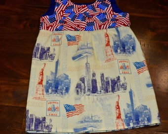 Baby girls 9/11 Freedom Tower  Patriotic dress size size 3mos