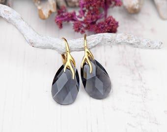 Grey gold crystal earrings Swarovski crystal teardrop earrings Grey rose gold earring Grey crystal jewelry Sterling Silver crystal earring 5