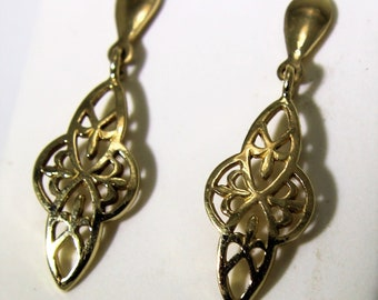 Lovely Celtic Knot 9ct Yellow Gold Long drop stud earrings
