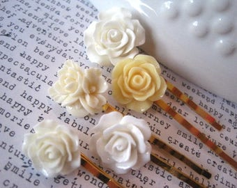 Bobby Pin Set, 5 White, Off White and Cream Flower Hairpins, Wedding Pins, Bridesmaid Gift, Gift for Women, Stocking Stuffer, Small Gift
