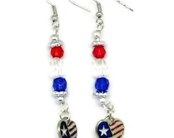 Patriotic Heart Flag Charm Earrings