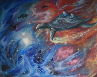 "Original Painting 70x100 cm Oil on canvas ""to dive for pearl''  Turtle"