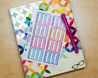 Watercolour Habit Tracker Sticker - Keep Track of 3 Habits, Watercolor, Planner Stickers, Filofax, Kikki-K, Erin Condren, Happy Planner, UK