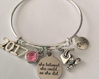 graduation bracelet-she believed she could so she did-2017 graduation bracelet-2018 graduation bracelet