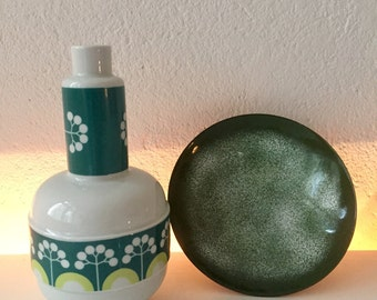 Vase Lichter manufactory DDR * 1960 * Flower vase white and green * GDR manufactory