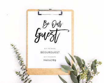 Wifi Sign Printable, Wifi Password Sign, Be Our Guest Wifi, Wifi Password, Guest Room Decor, Custom Wifi Sign, Guest Wifi, Modern Guest Room
