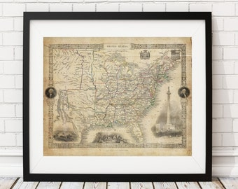 United States Map Print, Vintage Map Art, Antique Map, Office Wall Art, Map of America, Old Maps, US Map, Map of United States, Map of USA