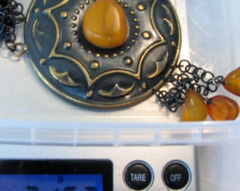 Natural genuine Baltic Amber and Brass old vintage antique retro necklace / locket authentic jewelry 21 gram FREE SHIPPING 875