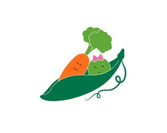 Pea & Carrot in a Pod Couples Car Decal