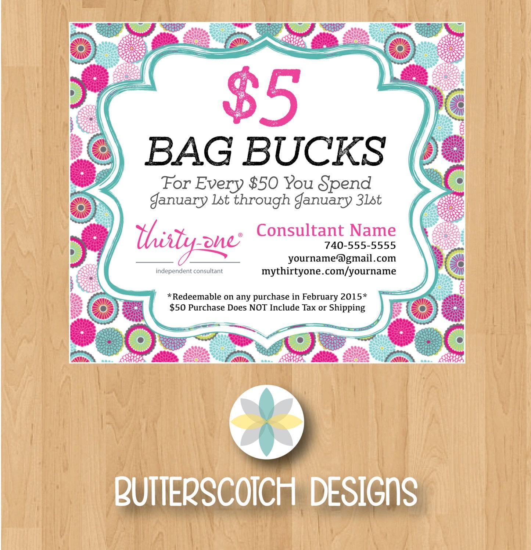 Thirty-One Customer Bag Bucks Bubble Bloom Mini Postcards