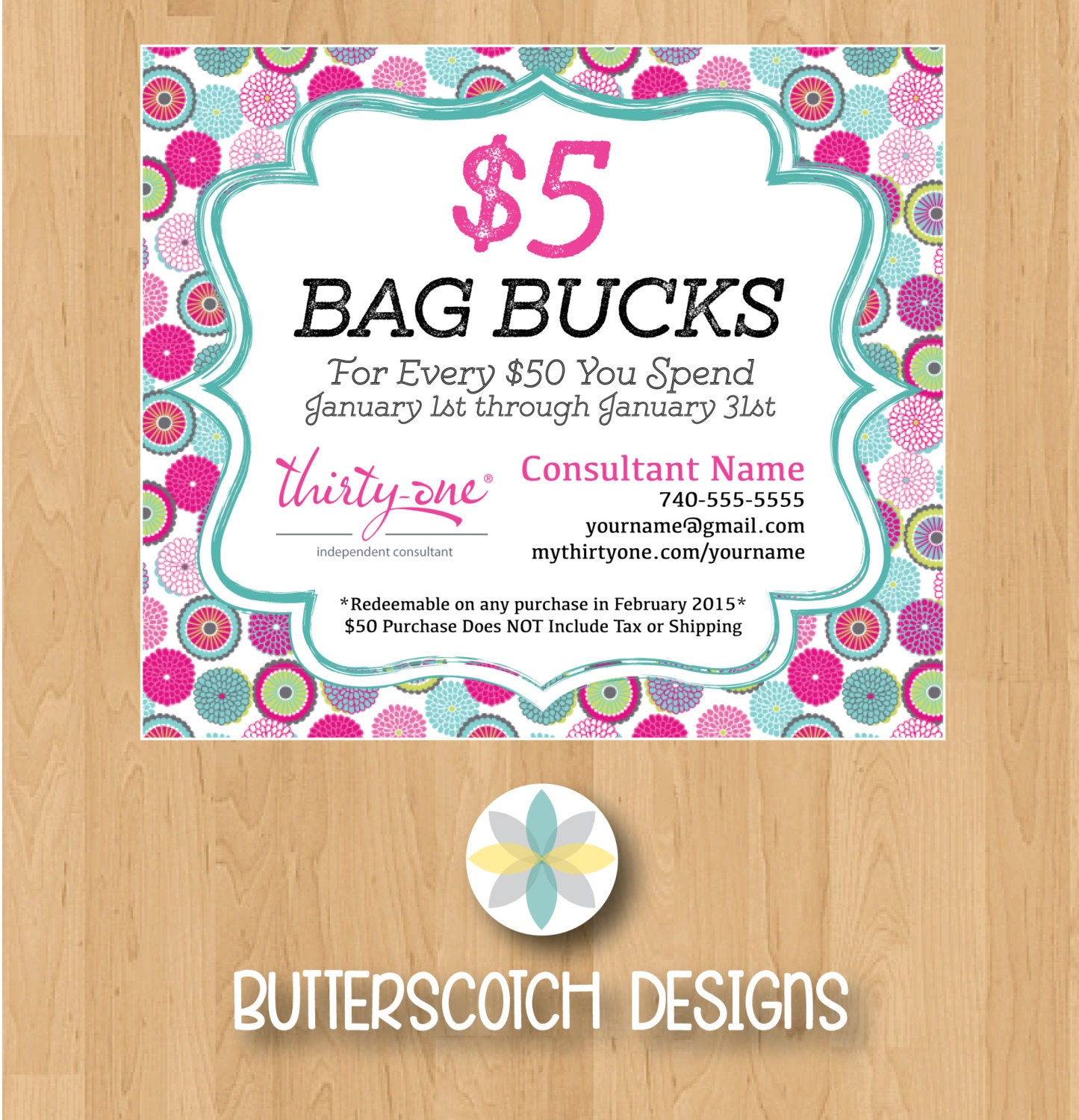 Thirty-One Customer Bag Bucks Bubble Bloom Mini Postcards
