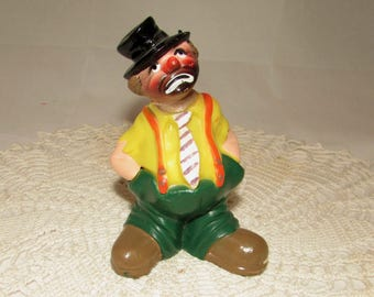 Vintage Plastic Circus Clown Cake Topper, Cake Decoration by Wilton, 1977, Circus theme, sad clown