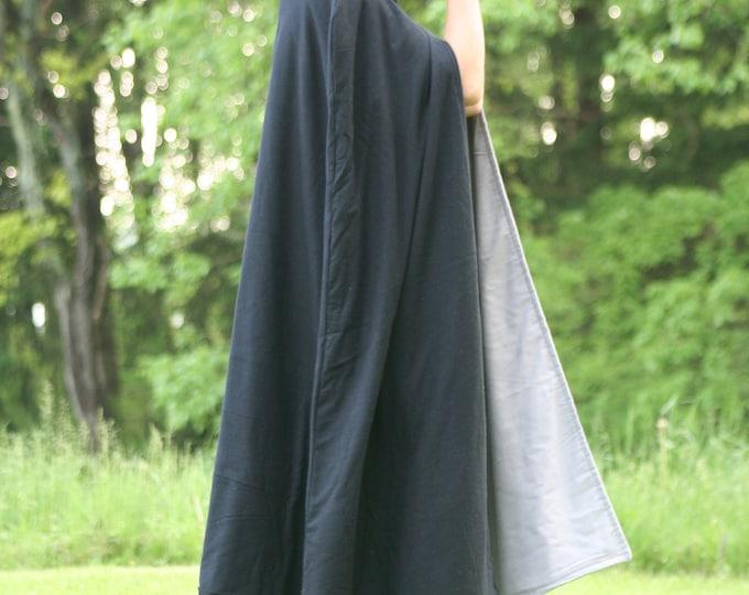 Black/Gray Reversible Hooded Cloak