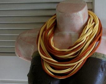 SALE Cinnamon & Yellow Infinity Multi Strand T shirt Jersey Scarf