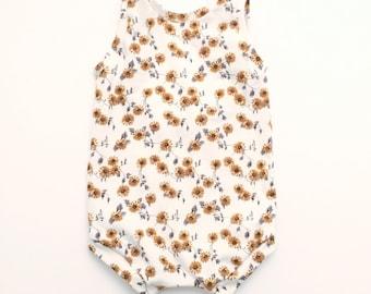 Sunsuit, sunflower, baby romper, baby girl romper