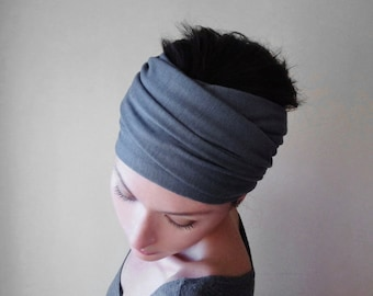 SLATE GREY Head Scarf, Medium Gray Head Wrap, Boho Headband, Jersey Headband, Extra Wide Jersey Head Scarves, Yoga Headband, Boho Head Wrap