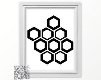 Abstract Print Digital Print Hexagon Print Abstract Art Geometric Print Art Modern Art Contemporary Art Wall Decor : A0341