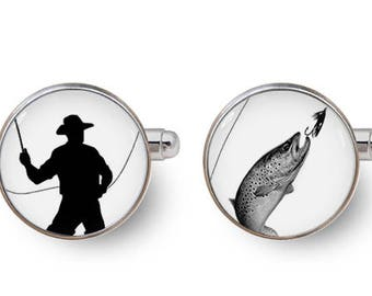 fishing cufflinks fly fishing cufflinks father of the bride gifts for fishermen fishing gifts -with gift box