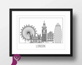 London Skylink Poster | United Kingdom | London Eye | Architecture | Sketch | Wall Art | Wall Decor | Home Decor | Prints | Poster | Digital