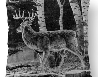 "Two Deer in Forest Black & White Pillow Cover 18"" x 18""  for Home, Garden or Truck"