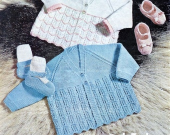 Baby 3ply Matinee Jackets & bootees two styles of both 19ins- Bellmans 1229 - Vintage Baby Knitting Patterns
