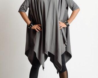 NEW Grey Asymmetric Loose Tunic/Plus Size Maxi Tunic/Short Sleeve Oversize Top/Comfortable Cotton Blouse/Grey Asymmetric Tunic/Maxi Long Top