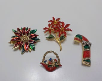 Four Vintage Christmas Brooches (663)